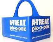 Vintage Blue A-Treat Pik-A-Pak Soda Bottle Carrier Plastic, 6 Compartments, RARE
