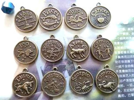 Zodiac Charms, Pendants Zodiac Signs 12 pcs ( one pc of each 12 zodiac signs) No. 0774-0784
