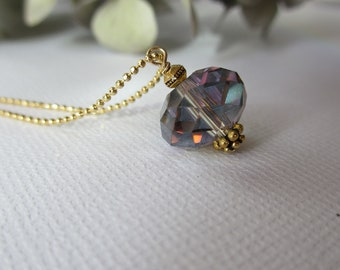 Crystal Drop Necklace, Multi colored crystal drop necklace, Bridesmaid necklaces, Bridesmaid jewelry,
