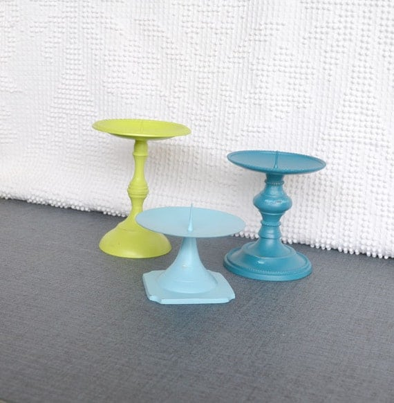 Lime Green Teal Aqua Shabby Candleholders Upcycled Painted Metal  Set of 3