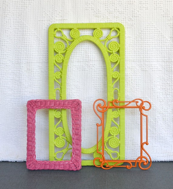 Bright Pink Lime Green Orange Funky Frames Set of 3 - Upcycled painted frame collection.. great for Gallery Wall