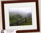 "Landscape Photography - fine art fence nature Kentucky road - 11x14 Photograph ""Foggy Morning Kentucky Landscape 1"""