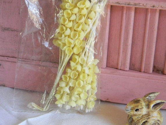 Vintage Flower MILLINERY Handmade Supply Yellow Cotton Fabric NOS FREE Shipping with Any Purchase