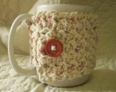 Crocheted Coffee Cozy / Mug Warmer in Natural Ecru
