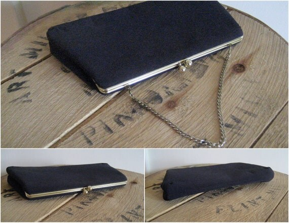 Vintage black purse / 60s Little Black Purse clutch gold tone hardware / Little Black Purse