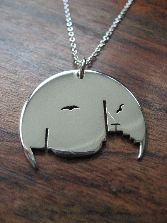 Ship Silver Pendant Necklace
