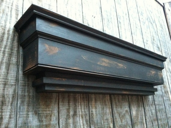 Large tiered wall shelf - Tiered distressed shelf
