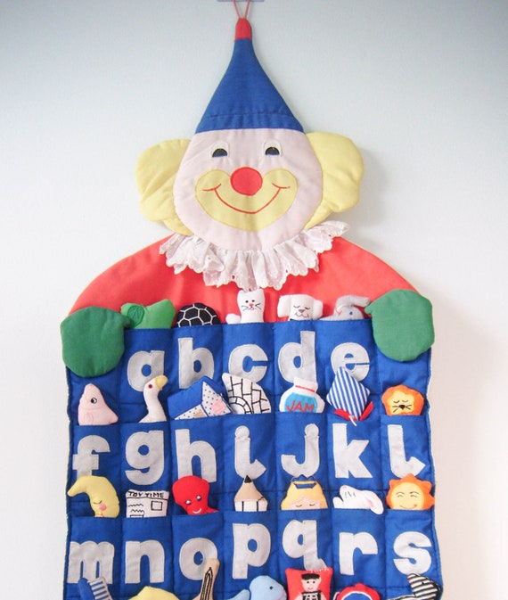 RESERVED Vintage - ABCs Clown Wall Hanging
