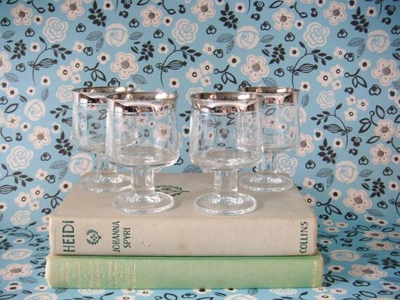 Vintage - Silver Rimmed Cocktail Glasses