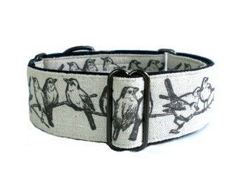 Songbirds Dog Collar - Linen Vintage Graphic Martingale Collar or Buckle Dog Collar