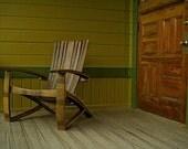 Bourbon Barrel Adirondack Chair (black, natural oak, brown, green, stainless steel, outdoor, patio)