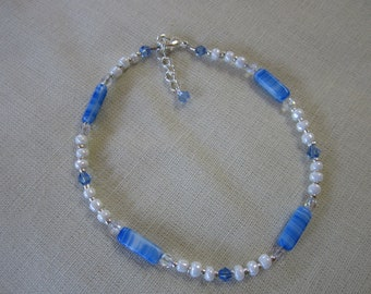 Blue and White Beaded Anklet