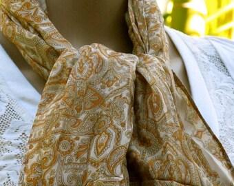 Silk Scarf, Silk Sari Scarf, Flower Scarf