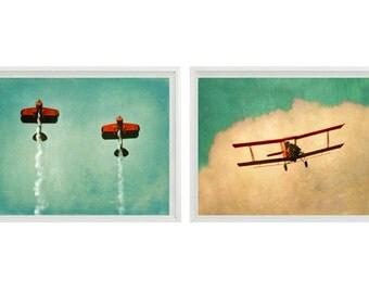 Vintage Airplane Art Print Set - SALE 30% OFF Plane Nursery Boys Room Red Aqua Biplane Flying Aviation Home Decor Photograph