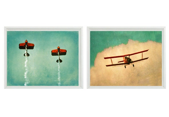 Vintage airplane art print set sale 30 off plane nursery Vintage airplane decor for nursery