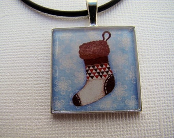 Resin Pendant, Christmas Stocking, Blue, Red, Green, 1 Inch, Square, Glitter