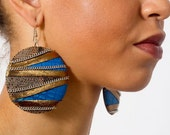Amanitore Earrings - Large High Fashion Silver-Tone Blue Gold and Tan Snakeskin Print Leather Circle Drop Statement Earrings