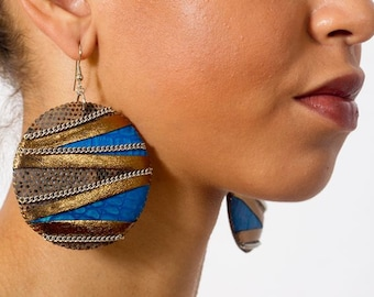 Amanitore Earrings, Ethnic Earrings, Large High Fashion Blue Gold and Tan Snakeskin Print Leather Circle Drop Statement Earrings