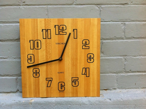 Mid Century Verichron Laminate Wood Wall Clock - Made in USA