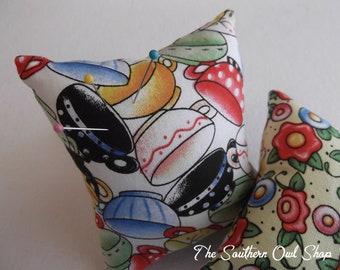 Multi-color tea cups print pin cushion