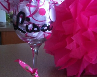Personalized Wine Glasses - Your choice of color - Great for Weddings, Parties, Bachelorette Party- A Great Buy