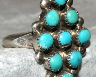 VINTAGE ZUNI SNAKE Eye Ring Size 7 Turquoise c1978