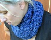 Unisex deep blue crochet warm scarf, scarflette, neck warmer,
