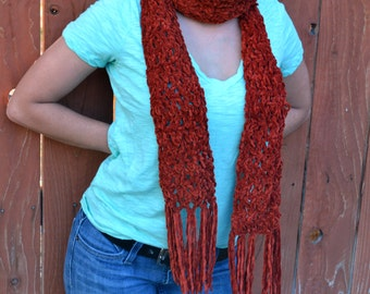 Autumn rust crocheted scarf