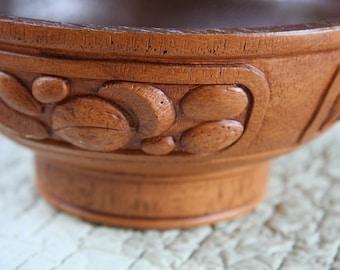 Carved vintage nut bowl