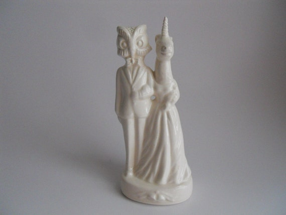 Owl and Unicorn wedding Cake Topper