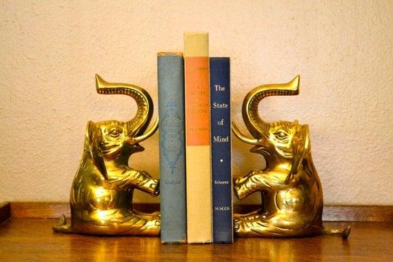 Brass Elephant Bookends Gold Decor Trunks Up Vintage Animal Statue