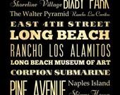 Long Beach California Souvenir, Typography Art / Long Beach Gift -Long Beach's Attractions Wall Art Decoration -  LHA-17