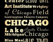 Chicago Typography Art Poster / Bus  / Transit / Subway Roll Art 18X24 - Chicago's Attractions Wall Art Decoration -  LHA-181