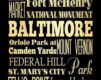 Baltimore Typography Art Poster / Bus  / Transit / Subway Roll Art 18X24 - Baltimore's Attractions Wall Art Decoration -  LHA-178