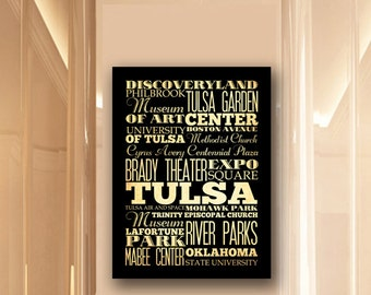 Large Typography Art Canvas of Tulsa, Oklahoma - Subway Roll Art 24X30 - Tulsa's Attractions Wall Art Decoration -  LHA-203