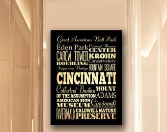 Large Typography Art Canvas of Cincinnati, Ohio - Subway Roll Art 24X30 - Cincinnati's Attractions Wall Art Decoration -  LHA-212