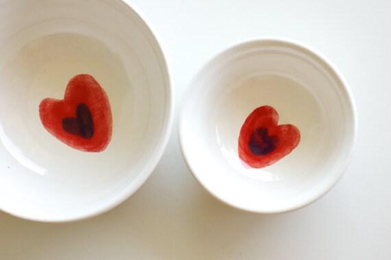 Reserved for Kristen- Nesting Bowls in White- Red Heart Design- Set of two