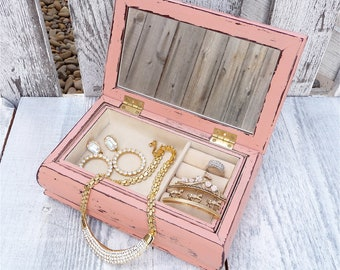 Shabby chic Jewelry Box with removable tray, a Rosey Pink - Tapestry Top Jewelry Case