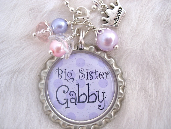 BIG SISTER Necklace Personalized Name Bottle cap Pendant Necklace, New Baby, New mother Jewelry, gift present  by My Blue Snowflake on Etsy