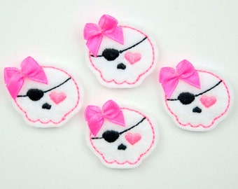 SWEET PIRATE - Embroidered Felt Embellishments / Appliques - White & Neon Pink  (Qnty of 4) SCF0165
