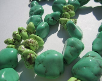 Green Turquoise Nugget Wrap Bracelet Necklace
