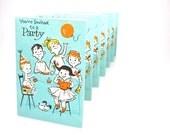 Vintage Invitations Birthday Kids Midcentury Aqua Orange