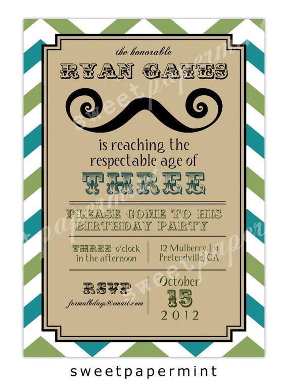 Mustache Birthday Invitation Templates Free
