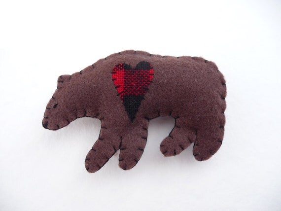 SALE Rustic cabin lodge decor bear magnet with red and black flannel heart, number 113