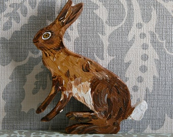 Sitting Wooden Hare Christmas Decoration