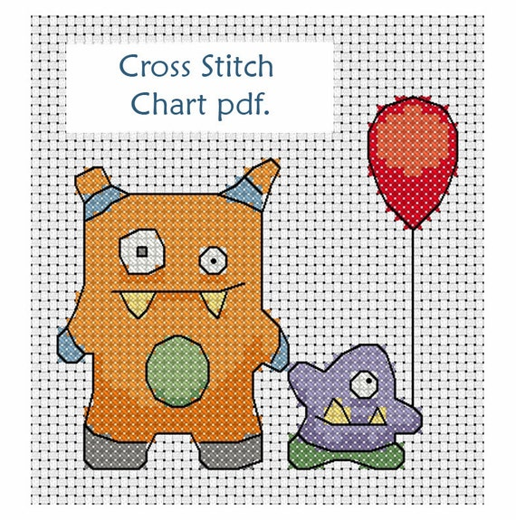 Monster cross stitch pattern, chart download ideal for birthday card or celebration, super cute, cross stitch monster card, quick stitch