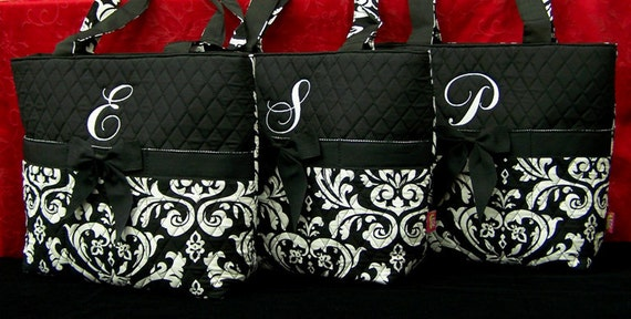 6 Personalized Tote Quilted Damask Monogrammed Bridesmaid