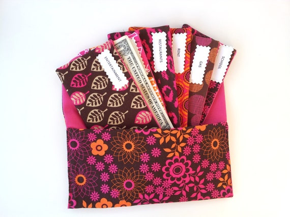 BUDGET ENVELOPES SYSTEM, Cash Envelopes - pink & orange mod floral (It can be used with the Dave Ramsey system)