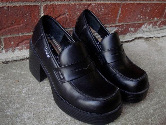 vintage black mudd slip on platform shoes 6 by