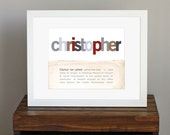 Custom Name Personalized Art Print with Meaning of Name - baptism or christening gift, classic nursery art, baby shower gift - 8 x 10